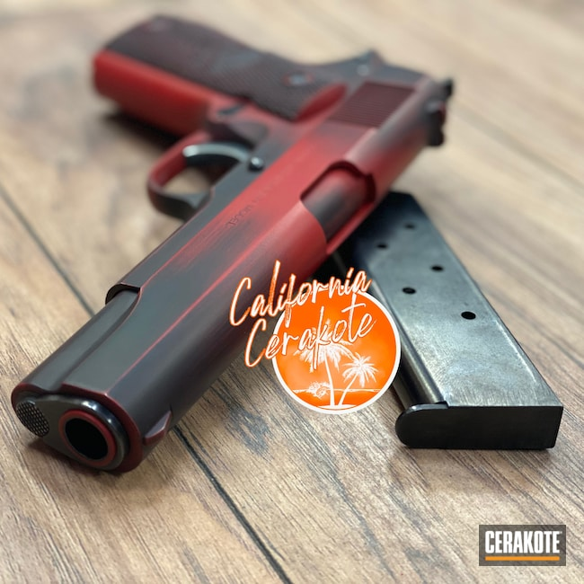 Cerakoted: Graphite Black H-146,Distressed,Colt,USMC Red H-167,Pistol,1911,Christopher Miller,california cerakote
