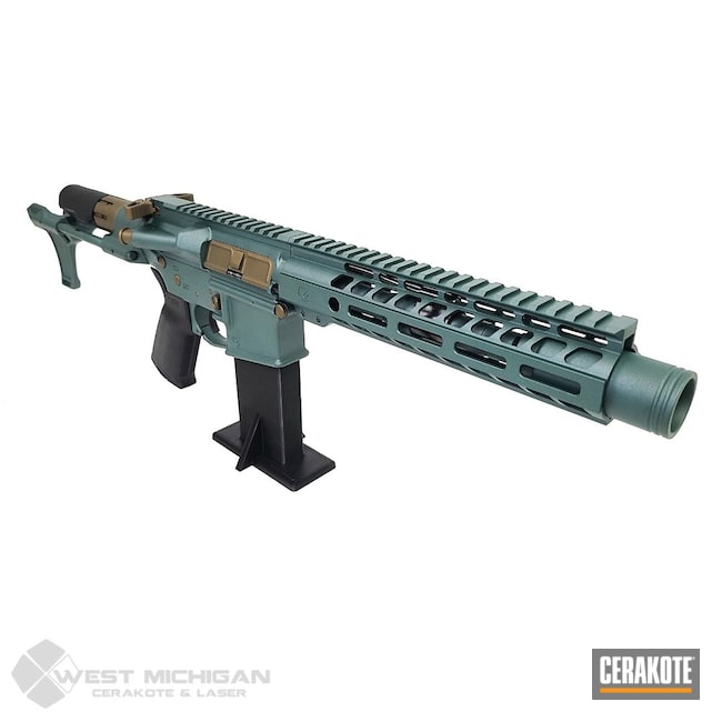 Cerakoted: S.H.O.T,AR,Firearm,Burnt Bronze H-148,Tactical Rifle,CHARCOAL GREEN H-338,Firearms,Gold H-122