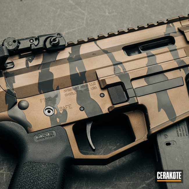 Cerakoted: S.H.O.T,Armor Black H-190,Pistol,Midnight Bronze H-294,Medford,9mm,Angstadt Arms,Custom Shop,AR Pistol,Stripe Camo,black flag armory,Southern Oregon,PCC