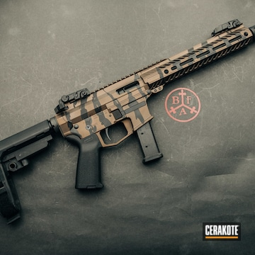 Cerakoted Angstadt Arms 9mm Pcc Stripe Camo In H-190 And H-294