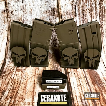 Cerakoted Punisher Themed Pmags In H-146 And H-261
