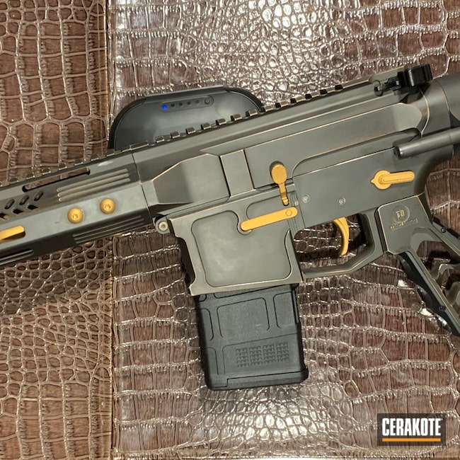 Cerakoted: S.H.O.T,Two Tone,Armor Black H-190,Tactical Rifle,5.56,AR Build,Gold H-122,AR Pistol,Battleworn,Custom,AR,Sword and Shield,.223 Wylde,AR-15