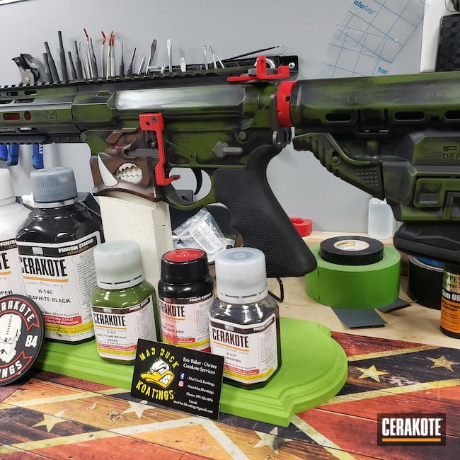 Cerakoted: S.H.O.T,MULTICAM® BRIGHT GREEN H-343,Graphite Black H-146,Stormtrooper White H-297,Tungsten H-237,Tactical Rifle,STOPLIGHT RED C-143,Warthog,Chocolate Brown H-258