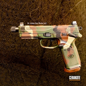 Cerakoted M81 Multicam Fn Handgun In H-267, H-146, H-342 And H-248