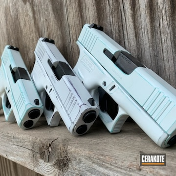 Cerakoted Set Of Distressed Glock Handguns