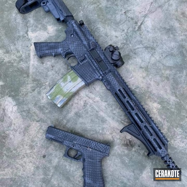 Cerakoted Matching Ar And Glock Net Camo In C-219 And C-102