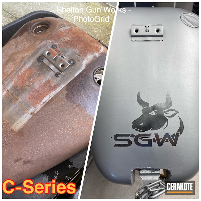 Cerakoted: Harley Davidson Gas Tank,Gas Tank for HD,HIGH GLOSS CERAMIC CLEAR MC-160,Harley Davidson,SATIN NICKEL C-124,Refinished,More Than Guns,Gas tank,Automotive
