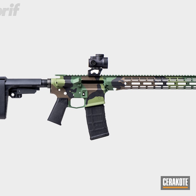 Cerakoted: S.H.O.T,Aero Precision,Highland Green H-200,Woodland Camo Pattern,Graphite Black H-146,Tactical Rifle,.223,Chocolate Brown H-258,AR-15