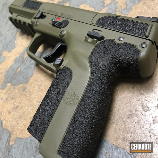 Cerakoted: S.H.O.T,Five-seveN,Sniper Green H-229,FNH,Pistol,Hand Stippled,Handguns,5.7,Defkon3
