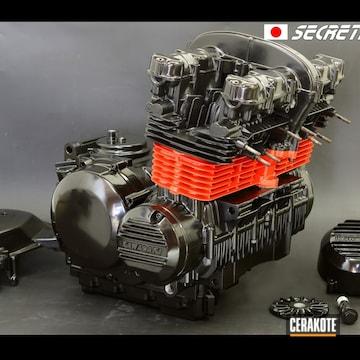 Cerakoted Kawasaki Z400fx Motor In H-146 And H-167