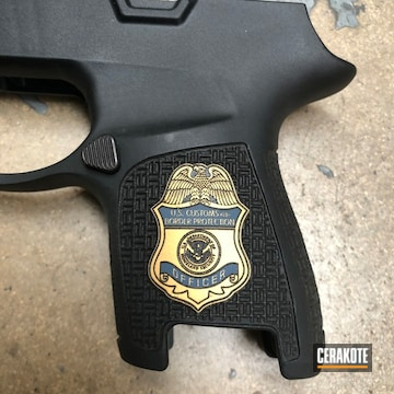 Cerakoted Laser Engraved Sig Pistol Frame In H-127 And H-122