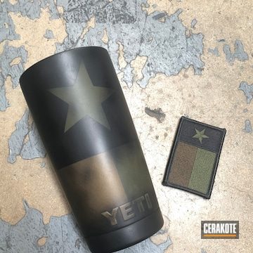 Cerakoted Texas Flag Themed Tumbler In H-190, H-229 And H-148