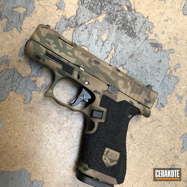 Cerakoted: S.H.O.T,M81 MultiCam,Pistol,Hand Stippled,Jesse James Eastern Front Green H-400,Custom Camo,Glock 43,Defkon3,MultiCam,Graphite Black H-146,Patriot Brown H-226,Camo,Glock,Handguns