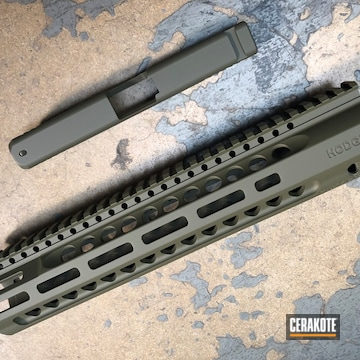 Cerakoted Matching Slide And Handguard In H-240 And H-236