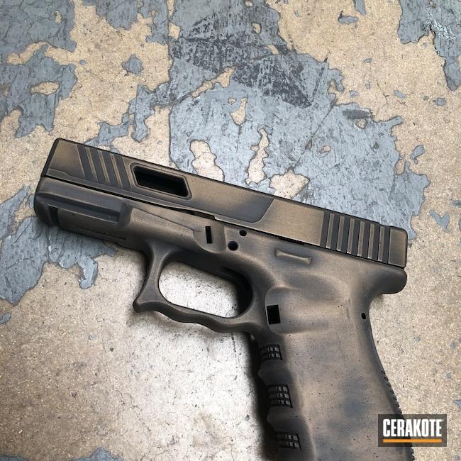 Cerakoted: S.H.O.T,Custom Glock,PewPewJew,Distressed,Armor Black H-190,Pistol,Hand Stippled,Defkon3,Glock 19,Battleworn,Burnt Bronze H-148,Worn,Glock,Handguns