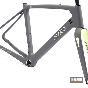Cerakoted Two Toned Bicycle Frame Finish In H-324 And H-295