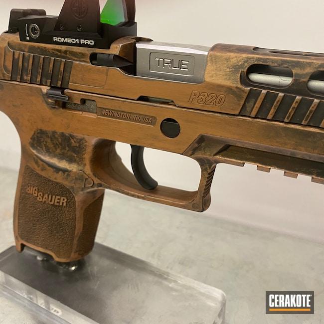 Cerakoted: S.H.O.T,9mm,COPPER H-347,Graphite Black H-146,Distressed,P320,Sig Sauer,Pistols