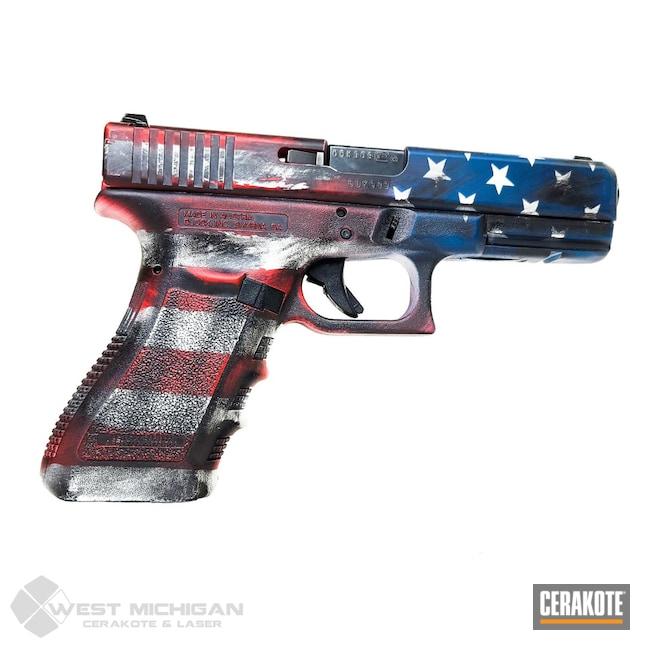 Cerakoted: S.H.O.T,USMC Red H-167,Armor Black H-190,Pistol,American Flag,Jesse James Civil Defense Blue H-401,Firearms,Hidden White H-242,Battleworn Flag,Distressed American Flag,Firearm,Glock,Stars and Stripes