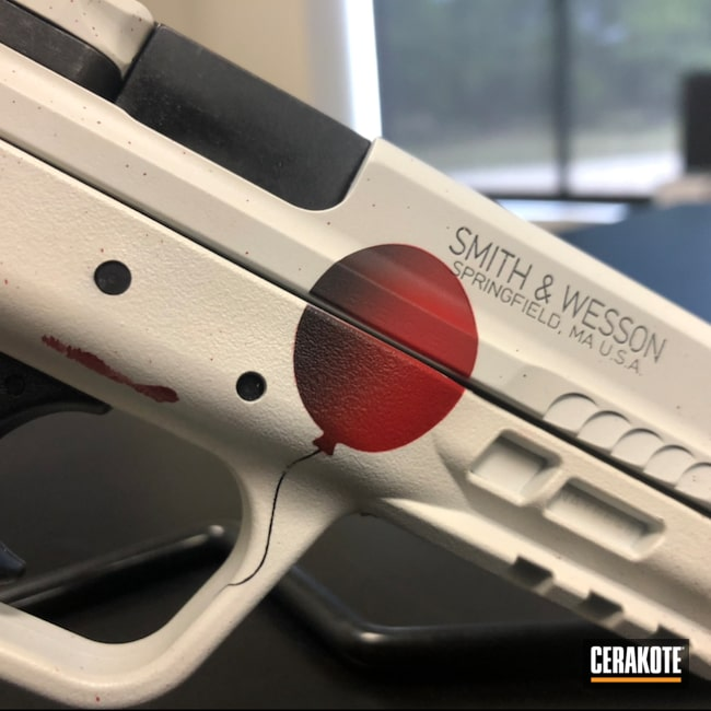 Cerakoted: S.H.O.T,Corvette Yellow H-144,Pennywise,Movie Theme,USMC Red H-167,Crimson H-221,Pistol,Bright White H-140,Graphite Black H-146,Smith & Wesson,It Theme,SMITH & WESSON® RED H-216,Movie Prop