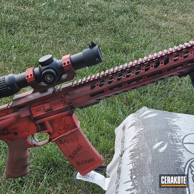 Cerakoted: S.H.O.T,Deadpool Theme,Colt,USMC Red H-167,Deadpool,Armor Black H-190,Tactical Rifle,Marvel Comic,5.56,Competition