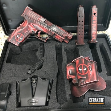 Cerakoted Matching Deadpool Themed Cup And Handgun