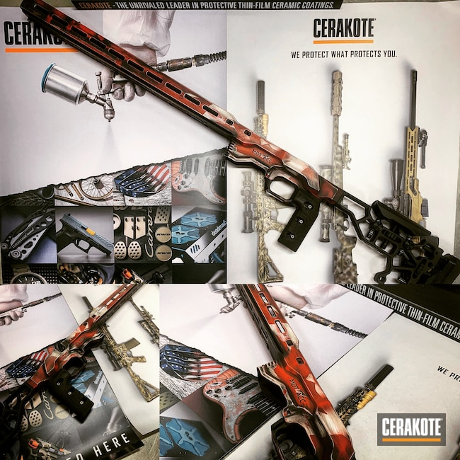 Cerakoted: S.H.O.T,Flag,MDT,Rifle Stock,Chassis,Stormtrooper White H-297,Canada,USMC Red H-167,Armor Black H-190,Canada Flag
