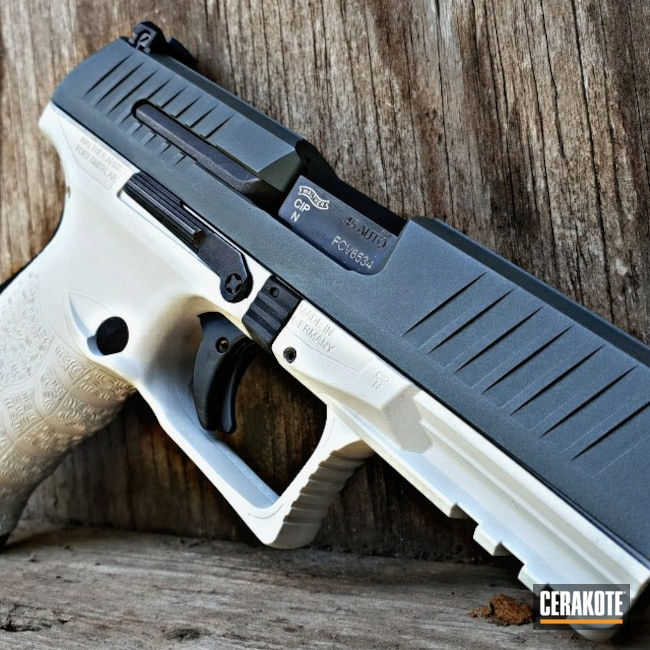 Cerakoted: S.H.O.T,.45,Walther,ppq45,Two Tone,FROST H-312,Pistol,PLATINUM GREY H-337,Handguns