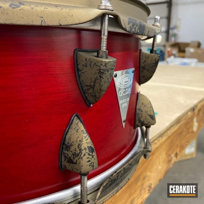 Cerakoted: Crinkle Camo,Venice Series,Orange County,Music,drum set,OCDP,Drum,Hardware,Venice,Graphite Black H-146,Orange County Drums,Percussion,Burnt Bronze H-148,Snare,Snare Drum,Musical Instrument,drum kit,Drum Hardware