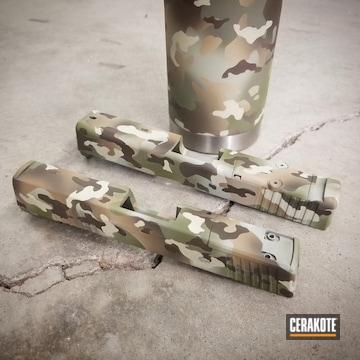Cerakoted Multicam Slides And Tumbler In H-247, H-226 And H-189