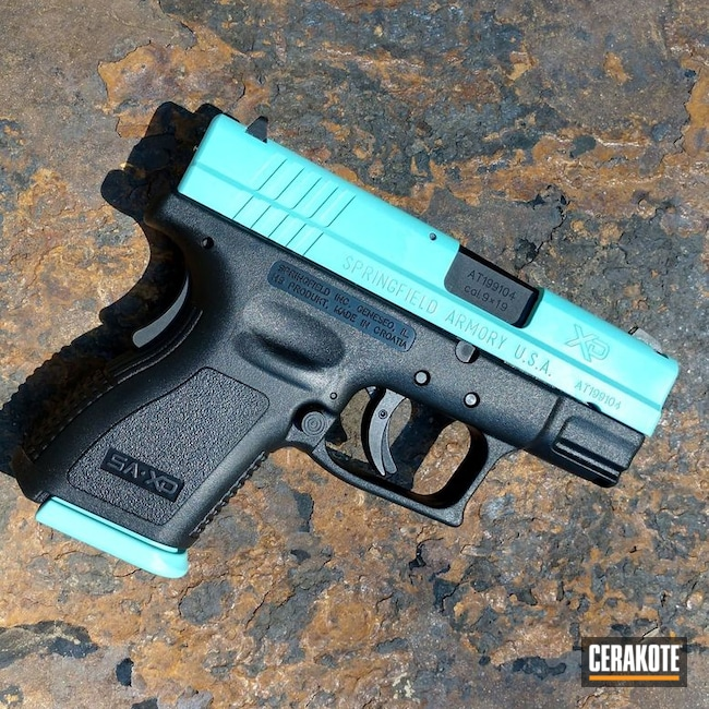 Cerakoted Springfield Armory Handgun In H-175 And P-109