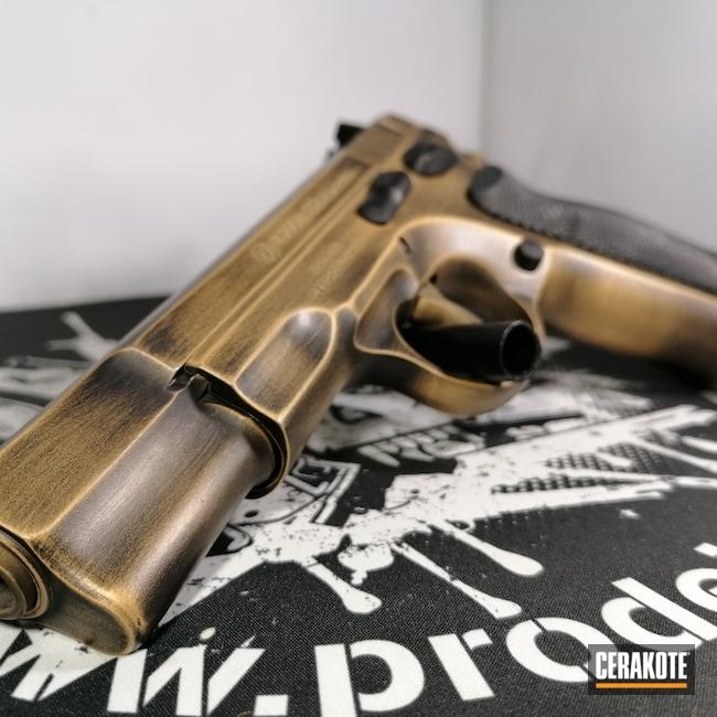 Cerakoted: S.H.O.T,9mm,Custom,Graphite Black H-146,Distressed,CZ 75,Pistol,CZ,Gold H-122