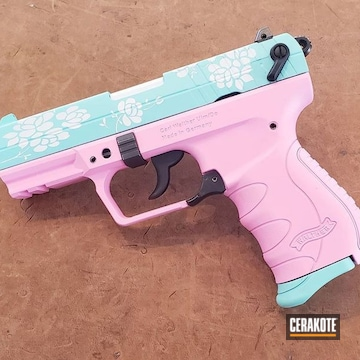 Cerakoted Floral Themed Walther Pk380 In H-140, H-175 And H-141