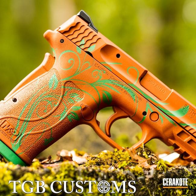 Cerakoted: S.H.O.T,COPPER SUEDE H-310,Smith & Wesson,.380,Girls Gun,Pistol,SQUATCH GREEN H-316,Ladies