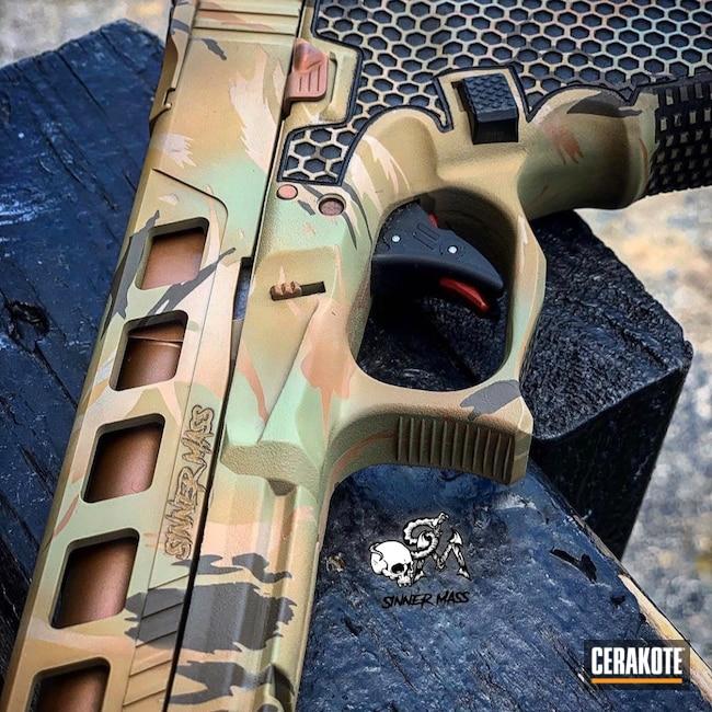 Cerakoted: Laser Stippled,S.H.O.T,Desert Sage H-247,Double Tap,Glock 34,Stippled,Pistol,Undercut,Racegun,Laser Engrave,San Antonio Laser Engraving,EDC,Competition,Custom Camo,Handgun,Noveske Tiger Eye Brown H-187,Comp,Mud Brown H-225,MCMILLAN® TAN H-203,Federal Brown H-212,G34,Glock