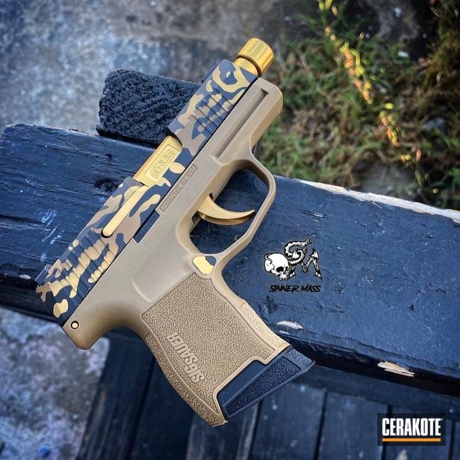 Cerakoted: S.H.O.T,Custom Mix,Leopard Print,Sig P365,CAT,p365,Pistol,Sig Sauer,Sig,Cheetah,Flat Dark Earth H-265,EDC,Tiger,Custom Camo,Gold,Gold H-122,Handgun,Graphite Black H-146