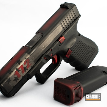 Cerakoted American Flag Thin Red Line Glock 19