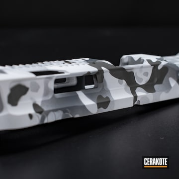 Cerakoted M&p Slide Snow Camo In H-242, H-136, H-213 And H-210