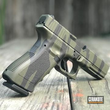 Cerakoted Tiger Stripe Camo 9mm Glock 19 In H-190 And H-264