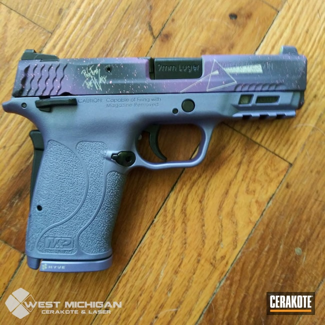 Cerakoted: S.H.O.T,M&P,Hidden White H-242,9mm,Smith & Wesson,Firearm,Armor Black H-190,Pistol,Firearms,CRUSHED ORCHID H-314,Galaxy,M&P Shield