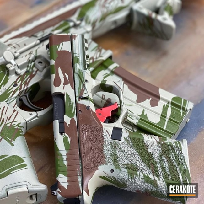 Cerakoted Matching Glock 19 And Ar In Rhodesian Brushstroke