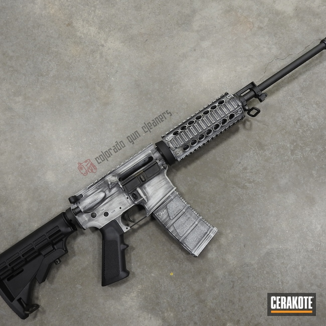 Cerakoted: S.H.O.T,Graphite Black H-146,Distressed,Stormtrooper White H-297,Tactical Rifle,.223,AR-15