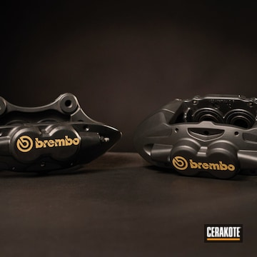 Cerakoted Brembo Brake Calipers In C-7800 And C-7600