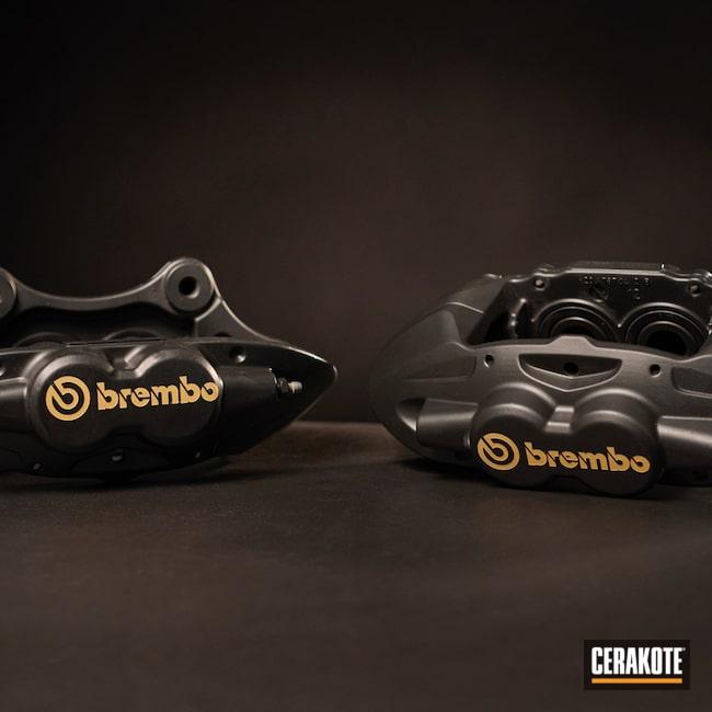 Refinished Brembo Brake Calipers Finished In Cerakote Glacier Black And Cerakote Glacier Gold Cerakote