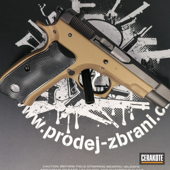 Cerakoted: S.H.O.T,9mm,Custom,Graphite Black H-146,TROY® COYOTE TAN H-268,Two Tone,9x19,CZ 75,Pistol,CZ
