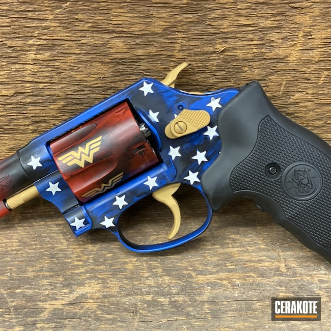 Cerakoted: S.H.O.T,DC Comics,Wonder Woman,NRA Blue H-171,FIREHOUSE RED H-216,Smith & Wesson,Revolver,.38,637