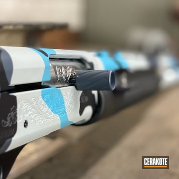 Remington 1100 Cerakoted Using Hidden White, Multicam Dark Grey, Graphite Black And Blue Raspberry
