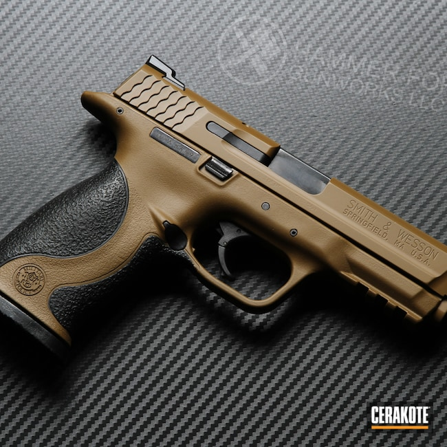 Cerakoted: S.H.O.T,9mm,M&P,Smith & Wesson,FS FIELD DRAB H-30118,Smith & Wesson M&P,Pistol,Handguns