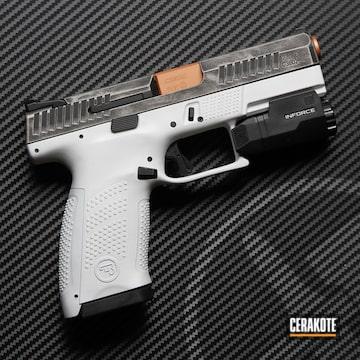Pistol Cerakoted Using Frost, Titanium And Graphite Black