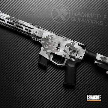 Snow Camo Ar-15 Cerakoted Using Frost, Titanium And Tungsten