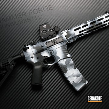 Snow Camo Ar-15 Cerakoted Using Multicam® Dark Grey, Snow White And Graphite Black